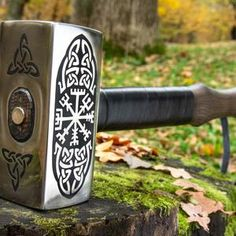 Viking hammer with Vegvisir Symbol carpentry woodwork | Etsy Blacksmith Hammer, Hammer Tool, Larp, Bushcraft, Bronze Anniversary Gifts, Bronze Gifts, Viking Armor, Special Symbols, Vegvisir