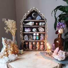 We make crystal shelves in all different shapes and sizes incorporating spiritual symbols and sacred geometry to allow you to create a magical sacred space in your home! Crystal Altar, Crystal Decor, Crystal Bedroom Decor, Witch Aesthetic, Aesthetic Rooms, Spiritual Decor, Spiritual Symbols, Crystal Shelves, Witch Room