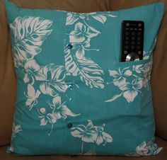 SOLD - Turquoise Vintage look 16 inch Pillow Upcycled Hawaiian Shirt on Etsy, $16.00 #upcycled #repurposed #homedecor #throwpillow #accentpillow #decorator #bedpillow #sofapillow #hawaiianprint #hawaiian #hawaii #orchids