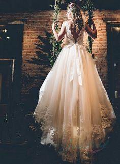 JOL303 stunning lace bateau neck deep v back ball gown wedding dress