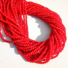"""100 Strands Beautiful Red Coral Hydro Gemstone Faceted Beads 3-3.5mm 13"""" Long"""