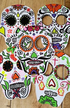 Sugar Skull Masks from Recycled Boxes. For a fun Halloween activity, recycle cereal boxes to make fun sugar skull masks or banner ornaments.