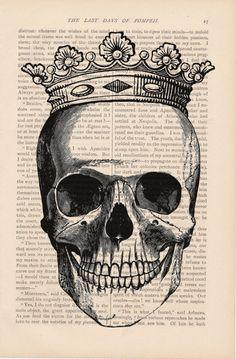 misschien geen schedel, maar krantenpapier als achtergrond ...