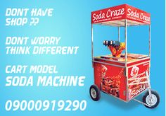 Its a latest trend in business, Moving Carts. You just need to be at perfect locality at sensible time. No need of vending shop nor need to purchase a vehicle, this machines comes with easy push cart. Its a Tri-Wheel with Steering & Bearing for Smooth ride.