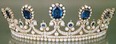 Tiara Mania: Sapphire, Diamond, & Pearl Parure Tiara by Bapst