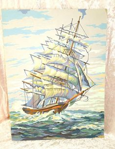 Vintage Tall Sailing Ship Oil Paint by Number Wall , $39.99