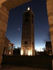 Bell Tower at the Church of the Transfiguration at the Community of Jesus, New Year's Night 2017