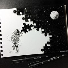 Puzzle My little astronaut is so busy.- Puzzle 👀 Mein kleiner Astronaut ist so beschäftigt. – Puzzle 👀 My little astronaut is so busy. Space Drawings, Art Drawings Sketches Simple, Pencil Art Drawings, Tumblr Drawings, Random Drawings, Beautiful Drawings, Doodle Art Drawing, Painting & Drawing, Puzzle Drawing