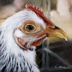 chicken oil painting- beautiful art from Etsy