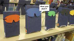 Teen Scene: Book Display. Superhero variation of the blind date display
