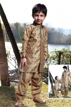 Beige colored Nylon Brocade Indo Western Kurta designed with patch work gives an elegant look symbolising the traditional outfit of India. Comes alongwith matching bottom. Actual product colors & designs may slightly vary Kids Indian Wear, Kids Ethnic Wear, Young Boys Fashion, Boy Fashion, India Fashion, Fashion Ideas, Kids Kurta Pajama, Kids Wear Online, Boys Kurta Design