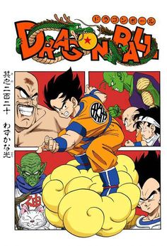 Goku, Vegeta, Nappa, Kami, Korin, Piccolo, Krillin, and Gohan