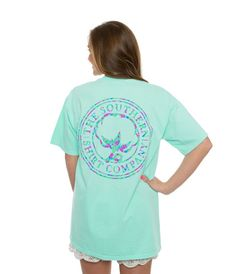 Logo Short Sleeve Tee in Ocean Blue by The Southern Shirt Co Flower Logo Short Sleeve Tee in Ocean Blue by The Southern Shirt Co.Flower Logo Short Sleeve Tee in Ocean Blue by The Southern Shirt Co. Preppy Clothing Brands, Preppy Brands, Women's Clothing, Southern Shirt Company, Simply Southern T Shirts, Preppy Outfits, Preppy Style, Flower Logo, Shirt Shop