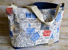 Camera Bag  / Khaki / blue, red, black / rustic vintage postcard style /  Camera Bag  Dslr / womens camera purse / Padded / by Darby Mack