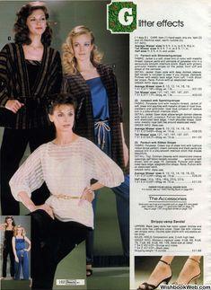 80s Fashion, Fashion History, Vintage Fashion, Cream Tops, Blue Jumpsuits, Christmas Catalogs, Fashion Marketing, Striped Fabrics, Ruffle Blouse