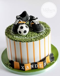 Soccer Themed Cupcake Tower Will Probally Do This One For