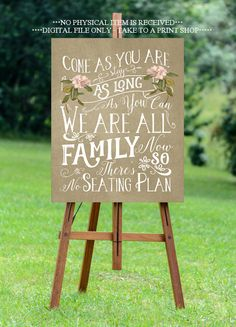 come as you are sign, no seating plan sign, antique wedding sign, printable wedding sign, digital wedding sign, seating plan sign, 16 x 20 by OurFriendsEclectic on Etsy