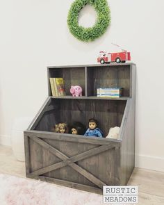 PDF Plans for Slanted Toy Box Bookshelf by Rustic MeadowsYou can find Toy boxes and more on our website.PDF Plans for Slanted Toy Box Bookshelf by Rustic Meadows Girls Toy Box, Kids Toy Boxes, Rustic Toys, Diy Rustic Decor, Rustic Design, Rustic Furniture, Diy Furniture, Woodworking Furniture, Woodworking Plans