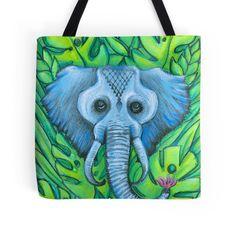 blue elephant beach bag tote by melanie dann