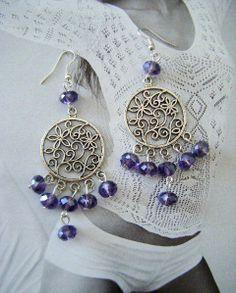 Orecchini argento tibetano FIORI AMETISTA cristalli Primavera shabby chic perle