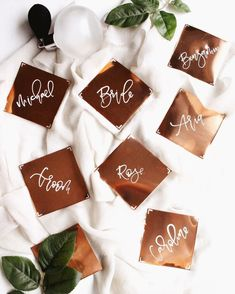 Gorgeous copper place cards by Pink + Peach! Wedding Planning Tips, Wedding Tips, Free Wedding, Wedding Table, Diy Wedding, Wedding Favors, Wedding Decor, Wedding Flowers, Wedding Dresses