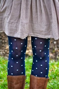 Polka Dots Tights Over Long Boots