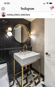 Timeless Elegance, Powder Room, Jan 20, Interior Design, Mirror, Bathroom, Elegant, Instagram, Herringbone