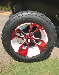 Choose your favorite color insert from red to green to blue and more with these custom golf cart wheels. #coloredcustomgolfcartwheels Golf Cart Wheels, Golf Cart Tires, Custom Golf Cart Bodies, Custom Golf Carts, Custom Body Kits, Tire Tread, Green To Blue, Hub Caps, Fender Flares