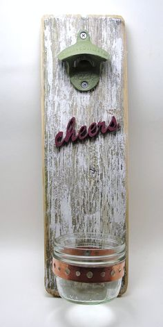 bottle opener reclaimed wood wall hanging Love this!