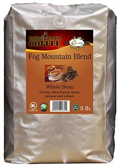 Fog Mountain Blend Whole Bean Coffee 5lb  Fairly Traded Naturally Shade Grown Kosher Certified ** Read more reviews of the product by visiting the link on the image.-It is an affiliate link to Amazon.