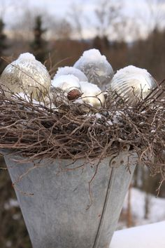 Christmas ornaments with twigs and galvanized container--vintage delight!