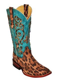 Ferrini Western Boots Womens Leopard Print Tan Turquoise 84293-50 #Ferrini #CowboyWestern