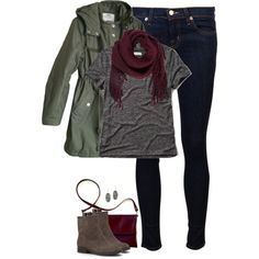 Oxblood, gray & army green by steffiestaffie on Polyvore featuring Abercrombie & Fitch, Cheap Monday, J Brand, Sole Society, Kendra Scott and Ulla Johnson