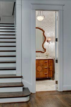 "Powder Room design Ideas #Powder #Room The wallpaper is ""Manor Gate Silver Wallpaper by Schumacher""."