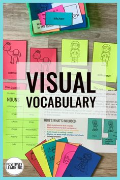 Vocabulary Visuals for the special education resource room. Parts of speech, phonics, and visual directions are included with pictures, text, and in context. From Positively Learning #vocabulary #resourceroom #specialeducation