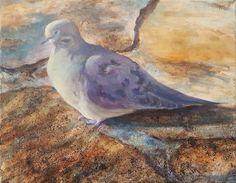 "Jonathan Mann, 2017-05-22, Mourning Dove, Pencil, Acrylic & Coffee Grounds, 16"" x 20"""