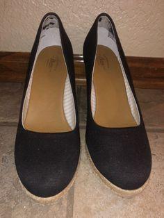 b6e8c8a4ef8 G.H. Bass Karlie Black Denim Wedge Heels Size 9  fashion  clothing  shoes