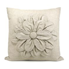 Natural linen flower applique pillow by ClassicByNature on etsy$62
