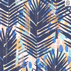 Zoe Wodarz pattern - Palm Blues copyright 2016 palm leave, dots, painted