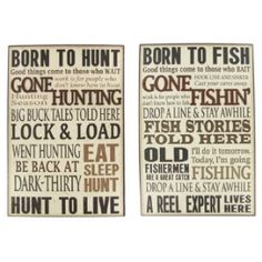 This Assorted Born to Hunt or Fish Wall Plaque is the perfect complement for hunting or fishing-themed decor.