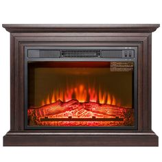 Akdy 32 Electric Fireplace Freestanding Brown Wooden Mantel Firebox Flame w/ Logs Heater Electric Fireplace Heater, Wall Mount Electric Fireplace, Home Fireplace, Fireplace Mantels, Fireplaces, Portable Fireplace, Wooden Mantel, Radiant Heaters, Stove Heater