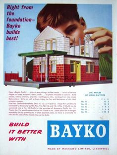 1963 'MECCANO BAYKO' Building Bricks Kit Toys ADVERT - Original Print AD | eBay