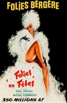 Folies Bergere - Folies en Fetes Vintage Poster (artist: O'Kley) France c. 1964