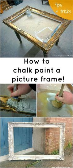 How to chalk paint a picture frame by Lara Roberts – Diy Furniture Ideas Chalk Paint Projects, Chalk Paint Furniture, Furniture Projects, Furniture Makeover, Diy Furniture, Diy Projects, Furniture Design, Dresser Makeovers, Bamboo Furniture