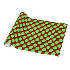 Cute Polka Dots, Neon Green Spots with Black shadows (for a 3-d pop off the page effect!) on Red Gift Wrap, great for any occasion #Funky #Christmas #polkadots #giftwrap #spots #neon #lime