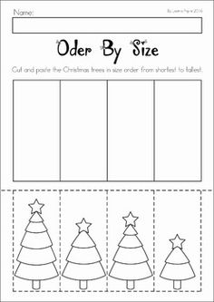 Christmas Preschool No Prep Worksheets and Activities. Christmas tree order by size.