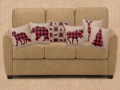 Rustic Woodsy Plaid Throw Pillows Bear Moose Deer by FolkandFunky