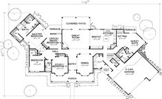 Ross House Floorplan. I love the guest/in-law suite with sitting room and kitchenette! I also like the service porch and orientation of the mountain facing great room, master, and kitchen.