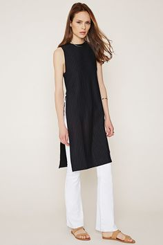 Contemporary Pinstriped High-Slit Tunic | Forever 21 - 2000146921