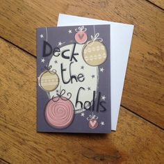 One Deck the Halls illustrated Christmas Card, Etsy £1.80